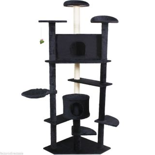 "New 80"" Cat Tree Condo Furniture Scratch Post Pet House Navy"