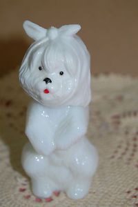 Avon Sweet Tooth Terrier Dog Decanter Small White Glass Bottle Vintage Empty