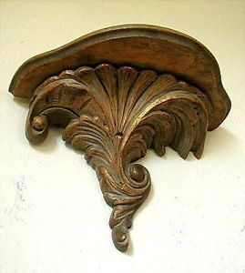 Very Fine Antique Italian Baroque Hand Carved Gilt Wooden Wall Shelf Bracket
