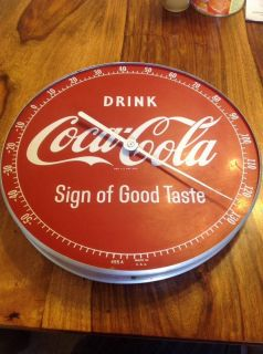 1950s Vintage Drink Coca Cola Sign of Good Taste Old 12in Dial Thermometer Sign
