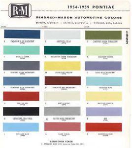 1957 Pontiac Paint Color Sample Chips Card Colors