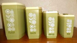 1970s Vintage 4 Kitchen Canister Set Flour Sugar Coffee Tea Classic Olive Green