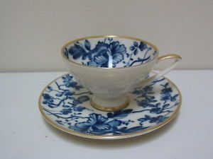 "Alka Bavaria Tea Cup and Saucer Germany ""Donata Kir"" Gold Trimmed Demitasse"