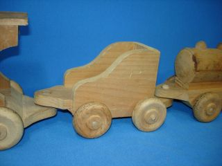 Hand Made Wooden Toy Train Set Steam Engine Locomotive Coal Tender Caboose