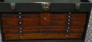 Vintage Gerstner Large Oak 11 Drawer Machinist Tool Box Clean Tight