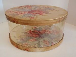Vintage Woodward Lothrop Floral Fabric Clear Sided Hat Box Shabby Distressed