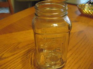Ball Clear Square Mason Jar w Side Measuring Guide Fruit Design on One Side