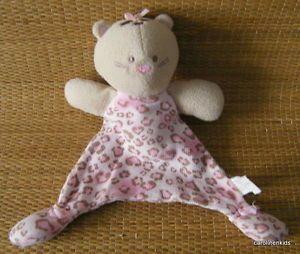 Vitamins Tan Pink Kitty Cat Lovey Security Blanket Animal Leopard Print Kitten