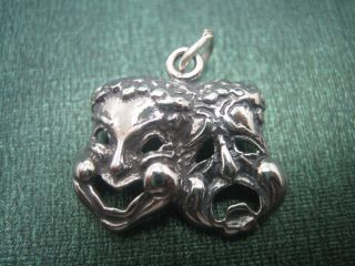 925 Sterling Silver Comedy Tragedy Mask Charm Pendant Open Jump Ring