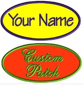 1 Custom Embroidered Name Patches Motorcycle Biker Vest Tags Iron on Badges Oval
