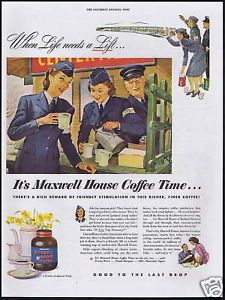1944 Maxwell House Coffee WWII Canteen Girls Vintage Print Ad