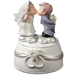 New Animated Musical Wedding Resin Figure Kissing Bride Groom Anniversary Gift
