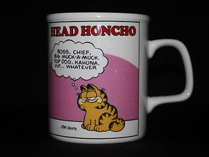 Garfield Cartoon Cat Head Honcho Boss Coffee Tea Cup Mug Vintage 1978 Jim Davis