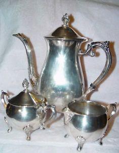 Vtg 3 Piece 6 Cup Leonard Silver Plated Tea Coffee Pot Set Sugar and Creamer