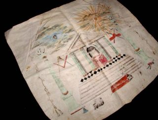 RARE Antique C 1804 Hand Painted Symbolic Masonic Apron Post American Revolution
