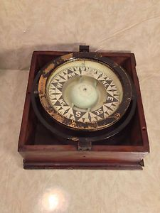 Antique Ritchie Compass in Binnacle Box Patent Nov 14 1878 Serial Number 14636