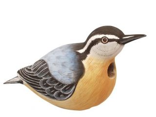 Birdhouse Red Breasted Nuthatch Shaped Wood Bird House