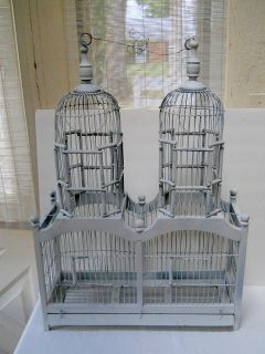 Vtg Wood Wire Victorian Double Dome Bird House Cage Decorative