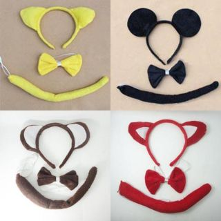 Party Costume Animal Ears Headband Cosplay 3pc Set Cartoon Style A019