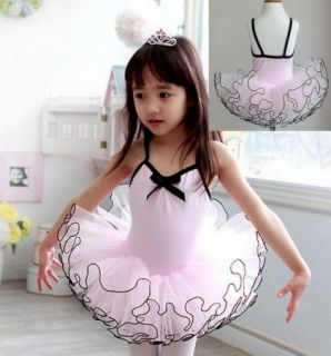 Girls Party Leotard Ballet Tutu Costume Long Sleeve Dance Skate Dress S3 8Y