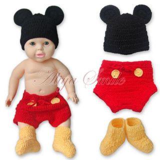 Mickey Mouse Newborn Baby Boy Girl 12 24M Costume Set Crochet Knit Outfits Photo