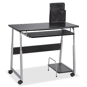 Lorell Mobile Computer Desk Rectangle Fiberboard Metal Black Silver