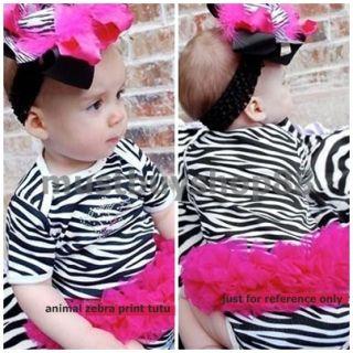 Baby Toddler Girl Animal Zebra Print Costume Tutu White One Pieces 3 18 Months