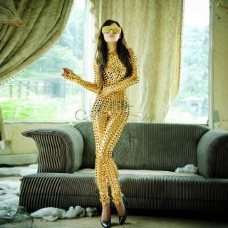 Women Lady Golden Sexy One Piece Scaly Jumpsuit Bodysuit Rompers Costume Catsuit