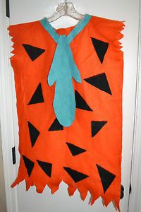 Child Kids Fred Flintstone Costume Orange Handmade Homemade Felt Sz 8 12