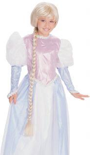 Rapunzel Wig Child Kids Girls Long Braid Blonde Tangled Princess Maiden Costume