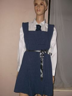 """Adult Baby Sissy School Pinafore Dress 40"""" Navy White Check Shirt Tie"""