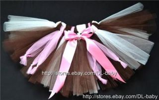 Pink Brown Party Costume Girl Toddler Child Baby Dance Ballet Skirt Tutu 0 5T