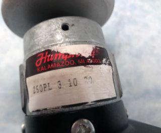 New Humphrey Model 250PL Large Push Button Pneumatic Manual Air Control Valve