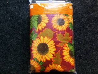... Thanksgiving Fall Primitive Sunflowers Vinyl Tablecloth Flannel Back  All Sizes ...