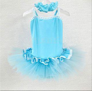Kids Girls Party Dancing Leotard Ballet Sleeveless Age 3 8Y Tutu Skirt Dress