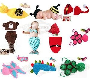 Baby Boy Girl Infant Crochet Costume Animal Mermaid Photography Prop Clothes