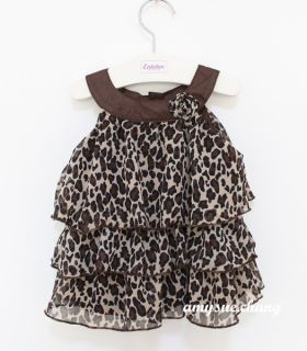 1pc Baby Kid Toddler Girl Chiffon Dress Top Costume Outfit Clothes Tutu Leopard