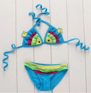 2pcs Baby Girl Kid Toddler Swimsuit Bikini Swimwear Fish Bathing Swim Costume