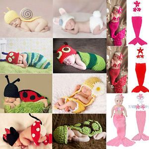 Popular Newborn Baby Girl Boy Crochet Knit Costume Photo Photography Prop Outfit