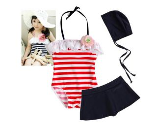 Girls Kids Navy Stripe Size 6 10Y Swimsuit Swimwear Bathing Swim Costume Tankini
