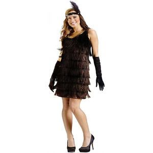 Flapper Costume Adult Roaring 20's Black Dress Halloween Fancy Dress