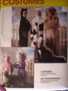 Uncut Vintage McCalls Sewing Pattern Halloween Costumes Cow Lion Pig 7849