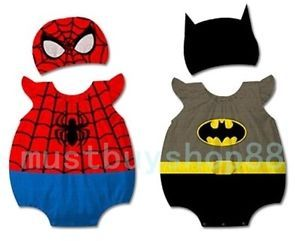 Baby Infant Toddler Cartoon Heros Boy Costume Bodysuit Hat Outfits 3 18 Months
