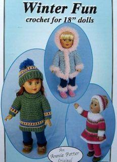 "Crochet Winter Fun for 18"" Dolls Annie Potter Original Patterns"