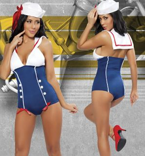 SEXY ADULT PINUP SAILOR GIRL ROMPER HALLOWEEN COSTUME WITH MIDDY BACK S M
