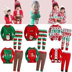 "Baby Toddler Kid Girl Boy Clothes Santa Christmas Sleepwear Set""Merry x Mas"""
