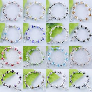 "Crystal Faceted Beads Cross Bracelet 7 "" SBK030"