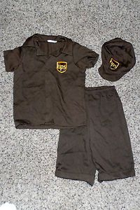 Halloween UPS Delivery Driver Brown Costume Toddler Boy Girl 2 4