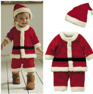 Xmas Gift Baby Boys Girls Santas Party Suit Costume Formal Dress Hats Kid Outfit