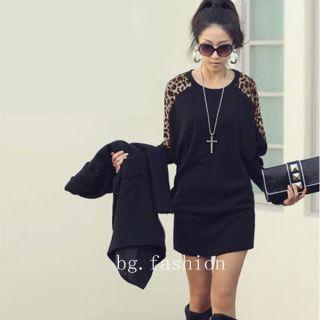 Women Ladies Leopard Print Batwing Sleeve Long Top T Shirt Blouse Elegant